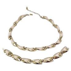 Trifari Brushed Goldtone Necklace, Bracelet - Lovely Shape