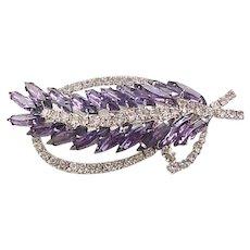 Spectacular Purple Rhinestone Brooch and Earrings