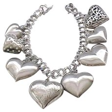 Sterling Charm Bracelet with 8 Puffy Hearts