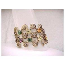 07 - Pretty Bracelet - Filigree with Sparkling Rhinestones -  Wide