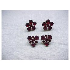 10 - Stunning Weiss Red Rhinestone Pins and Earrings