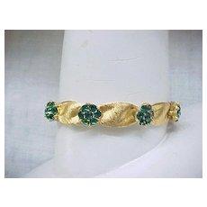 Lovely Trifari Ribbon Bracelet with Emerald Green Rhinestones