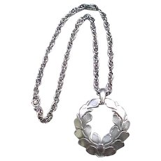 Trifari Silvertone Pendant - Garland of Leaves