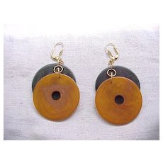 Bakelite Disc Earrings - Pierced Ears - Butterscotch, Green
