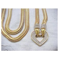 12 - Super Long, Chunky Necklace Big Rhinestone Heart