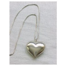 Puffy Heart Sterling Necklace - Box Chain