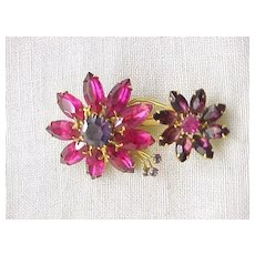 07 - Pretty Pink and Purple Rhinestone Flower Pin