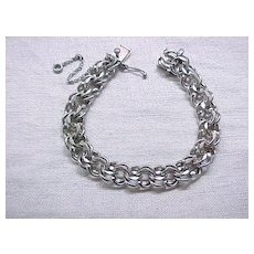 Wide Sterling Silver Charm Bracelet - 8 Inches