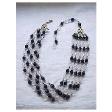Black and Crystal Necklace, Cascade Earrings