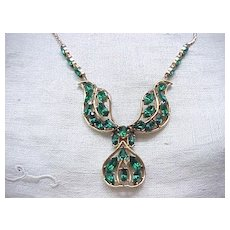 Glorious Emerald Green Rhinestone Necklace - Jeray