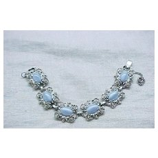 Pretty Elizabeth Morrey Blue Glass Moonstone Bracelet