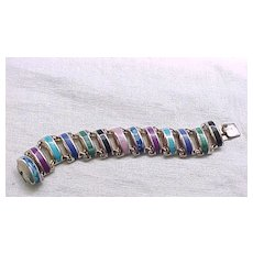 Superb Sterling Bracelet Natural Stones - Unusual Design