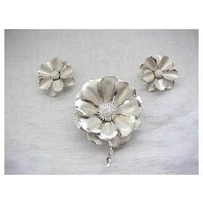 08 - Coro Flower Pin and Earrings - Silvertone Metal