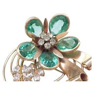 Stunning Retro Gold Filled Rhinestone Pin - Aqua