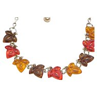 Lisner Leaf Necklace, Earrings, Brooch - Fall Colors