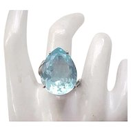 Sterling Silver Ring - Simulated Blue Topaz - size 8 1/4