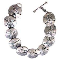 JHB Sterling Silver Sand Dollar Bracelet, Earrings