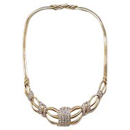 Beautiful Trifari Necklace - Diamante Rhinestones, Goldtone - Bridal, Special Occasion