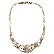 Beautiful Trifari Necklace - Diamante Rhinestones, Goldtone - Bridal, Special Occasion