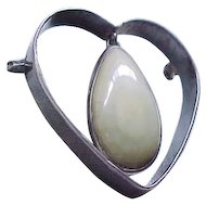 Impressive Sterling Silver Heart Pin with Huge Natural Stone - Early Mexico