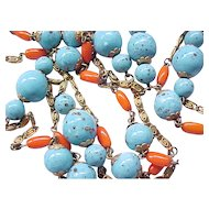1950's Czech Necklace Faux Turquoise, Faux Coral Beads - Superb