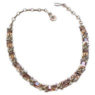 Gorgeous Lisner Rhinestone Necklace - Topaz Emerald Cut Stones