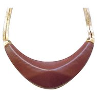 08 - Vince Camuto - High End - Leather and Goldtone Necklace