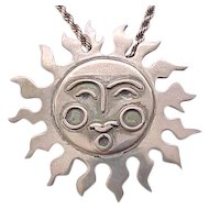 Traditional Aztec Sun Pin/Pendant - Sterling Silver - with Chain