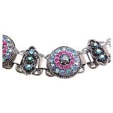01 - Book Chain Bracelet - Hot Pink and Blue Aurora Borealis Rhinestones