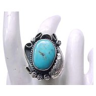 Large Native American Sterling and Turquoise Ring - Size 6