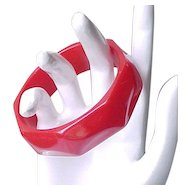 Red Bakelite Bracelet Carved Design