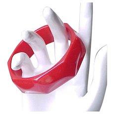 Red Bakelite Bracelet Carved Design