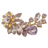 Beaujewels Lovely Lavender Rhinestone Pin and Earrings