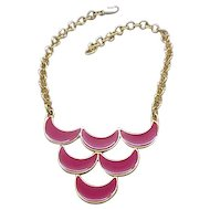 Hot Pink Enamel Bib Necklace - Monet