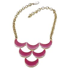 Hot Pink Enamel Bib Necklace - Monet