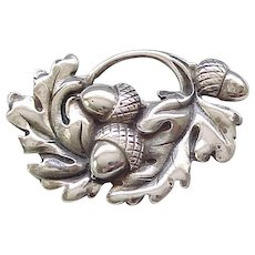 Gorgeous Viking Craft Sterling Acorn Pin and Earrings