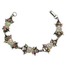 Coro Rhinestone Bracelet, Earrings - Art Glass Hearts