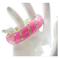 Delightful Kate Spade Pink Enamel Bracelet.  Rhinestones