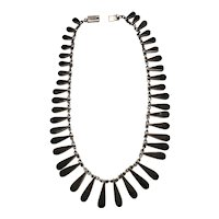 Magnificent Sterling Necklace Black Accents