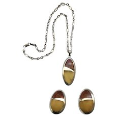 Awesome Sterling,  Baltic Amber Necklace,  Earrings