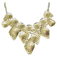 Fun Goldtone Bib Necklace - Hammered Look