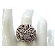 Impressive Sterling Silver Ring - Medieval Design - Size 8