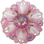 Gorgeous Pink Art Glass Pin, Earrings with Margarita Stones