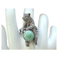 Fab Bear Fetish Ring - Sterling and Turquoise - Size 10 1/2