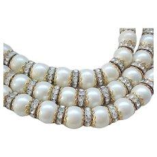 Magnificent KJL Three Strand Choker Necklace - Rhinestone Rondelles, Faux Pearls