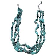 3 Strand Turquoise Bead and Chip Necklace - Sterling Clasp
