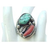 Incredible Huge Native American Sterling Ring - Size 9 - Turquoise, Coral