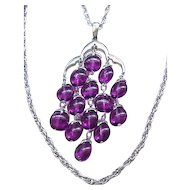 Stunning Trifari Waterfall Necklace - Purple and Silvertone
