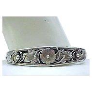 Exquisite Navajo Sterling Silver Bracelet - Floral Overlay