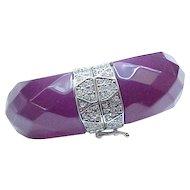 08 - Fabulous Ann Taylor Bracelet - Purple Lucite, Diamante Rhinestones